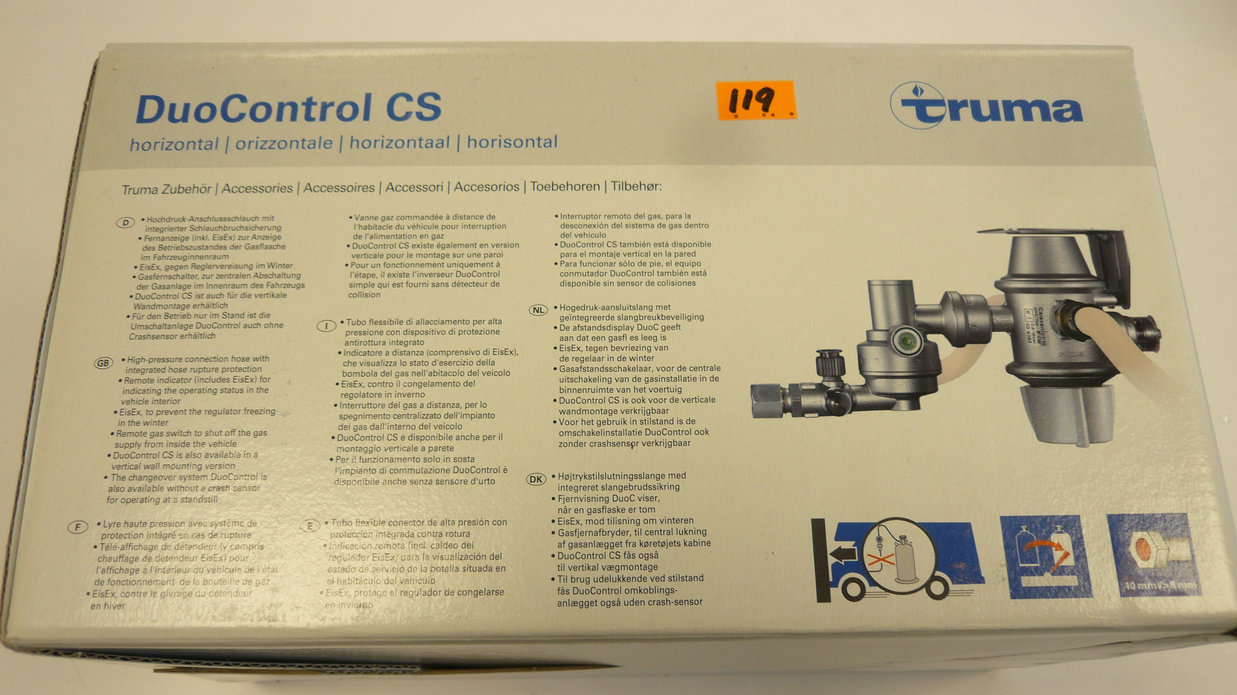Truma Gas regulator Duo control cs Horizontal